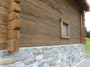 Italian Chalet Wood Siding Window Cognac